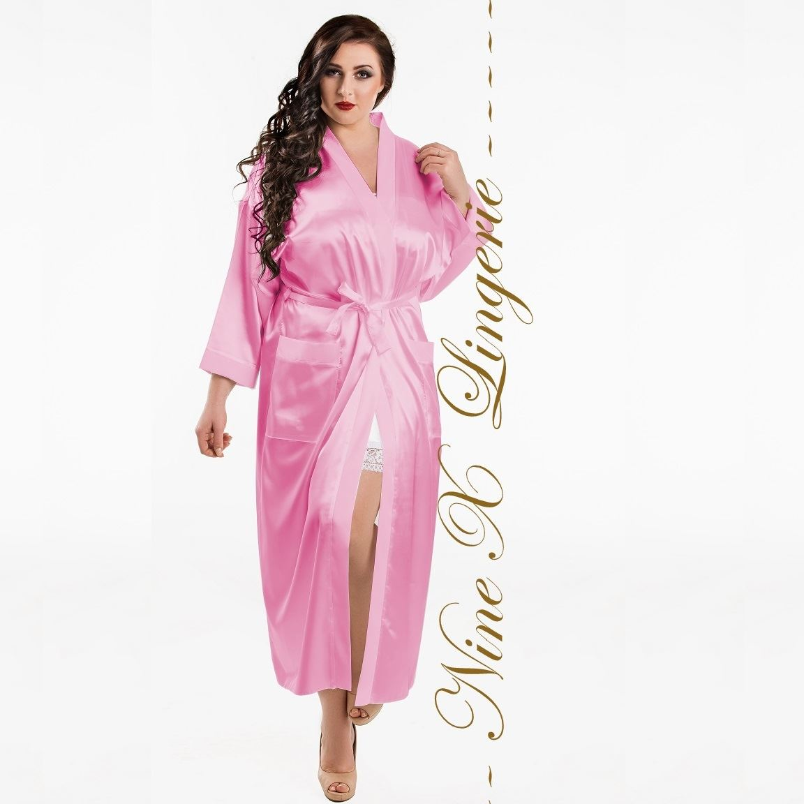 Satin Dressing Gown: Nine X Bridesmaid Long Dressing Gown Plus Size Lingerie S