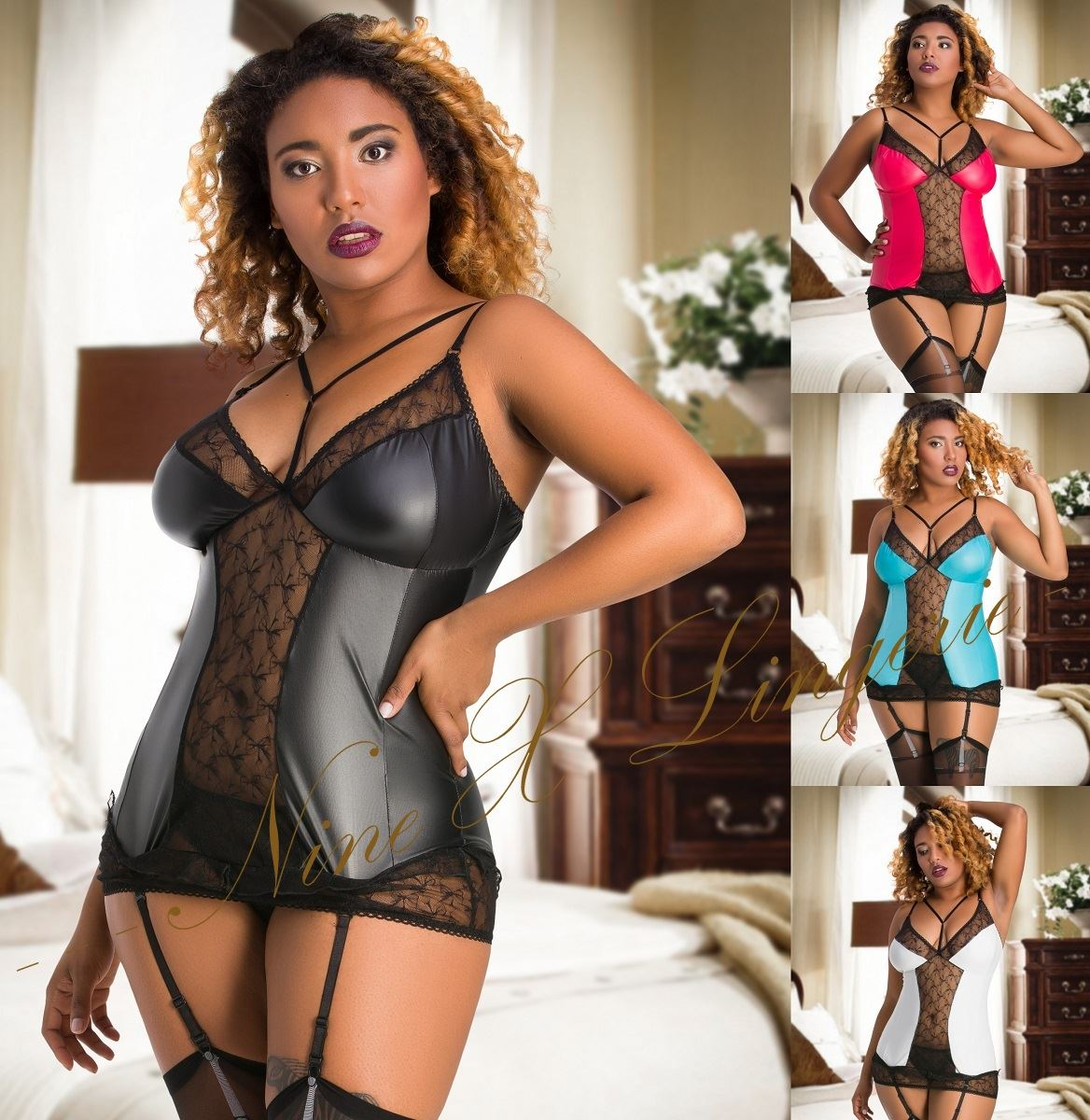 7669a30dcef Nine X Sexy Plus Size Lingerie M-6XL PVC Wet Look Vinyl   Lace Fetish  Babydoll
