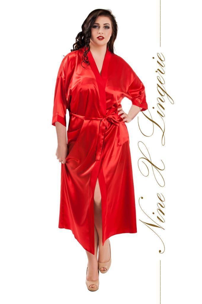 Nine X Ladies Long Satin Dressing Gown Kimono Plus Size Lingerie 8