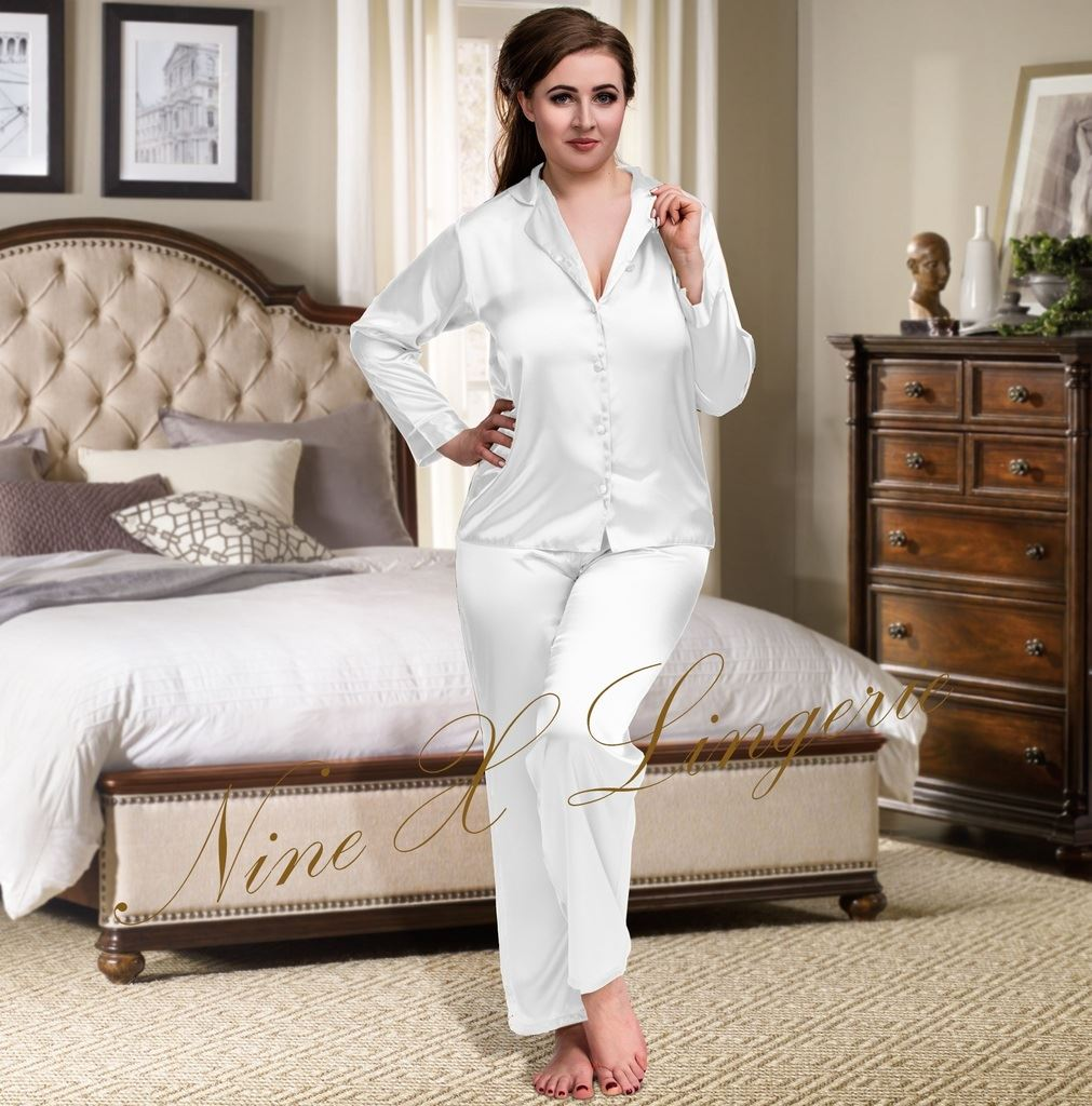 b5653d21b Nine X Womens Plus Size Lingerie S-6xl Satin Pyjamas Long Sleeve ...