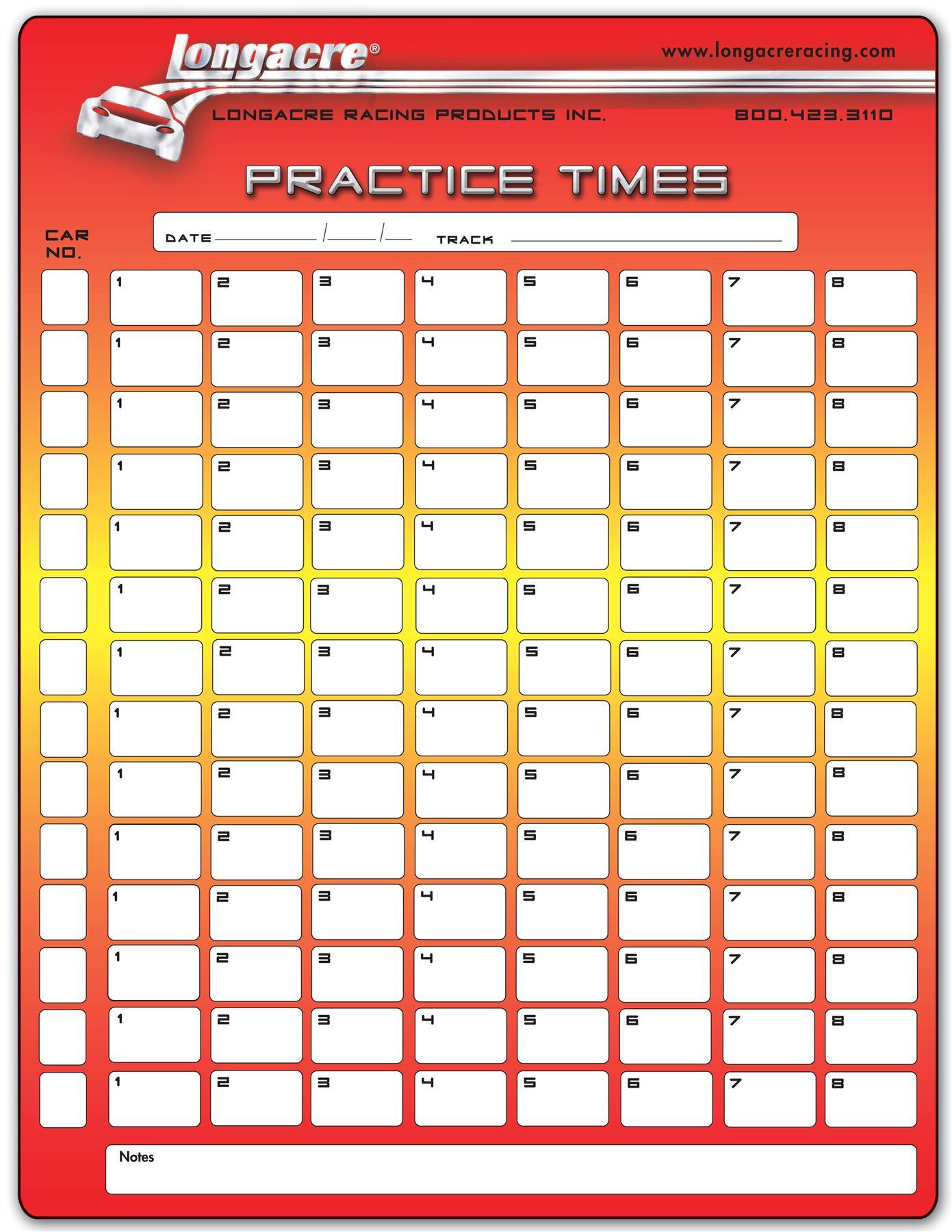 longacre lap timing sheets for race circuit motorsport 22525 ebay