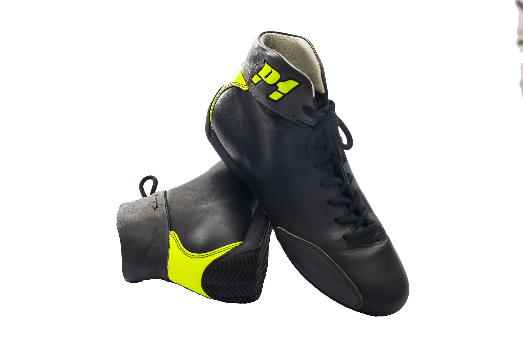 Indexbild 9 - P1-Racewear-Monza-FIA-Approved-Soft-Leather-Race-Rally-Boots-Black-Fluro