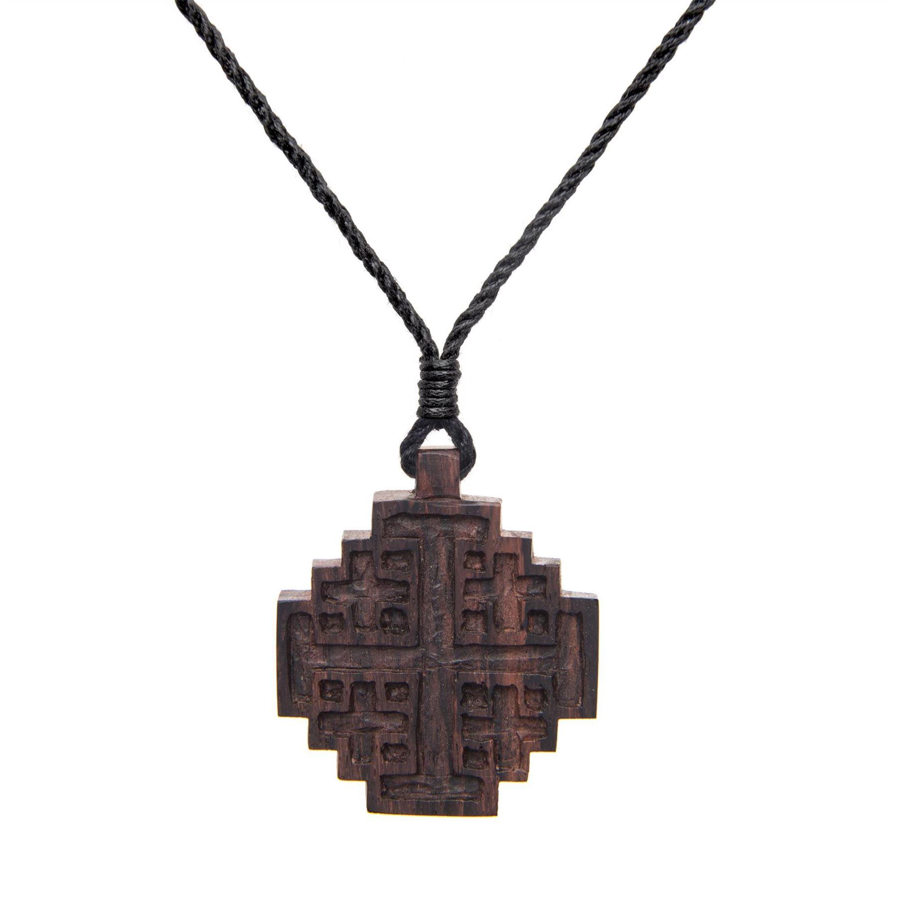 81stgeneration Womens Mens Wood Brown Spiral Flower Tribal Adjustable Round Pendant Necklace