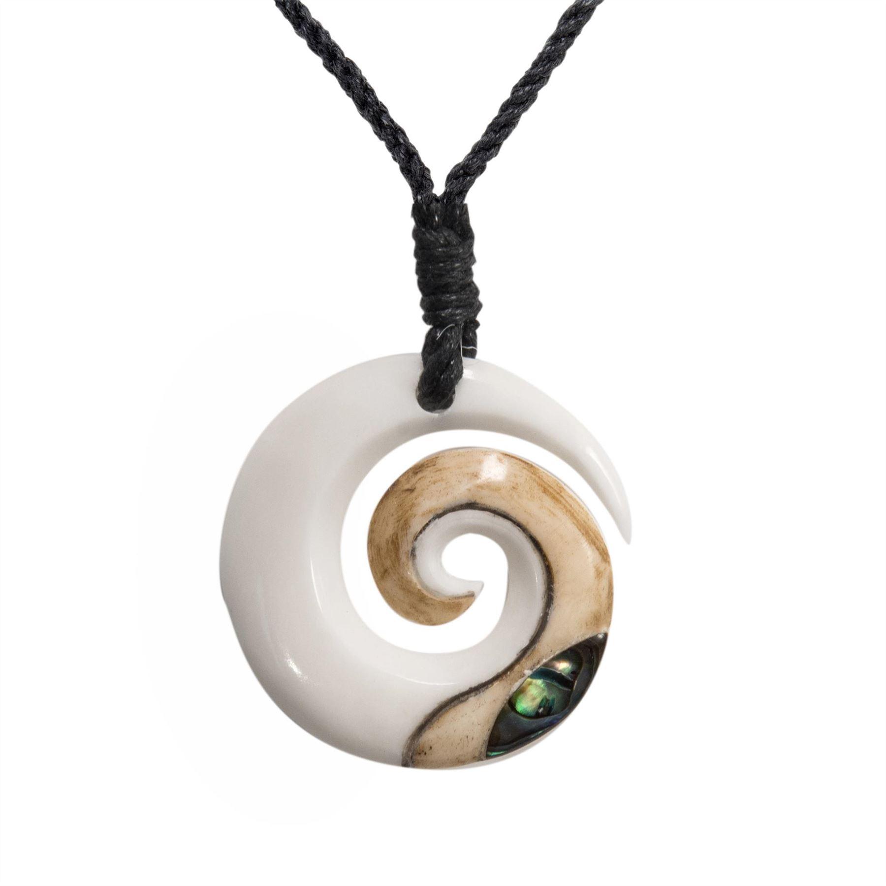 KORU Bone and Abalone Hook Pendant