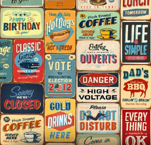 Walplus 30 x A4 reusable wall art PVC collage/mural stickers vintage metal sign