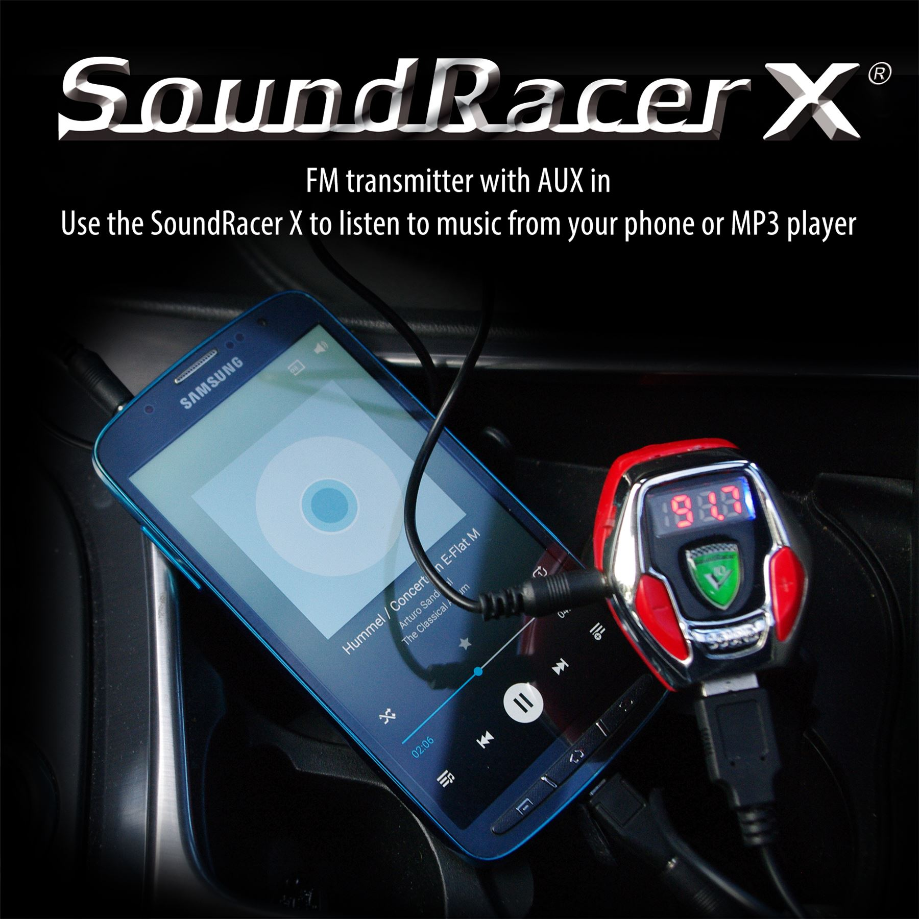 soundracer x kfz motor sound effekt fm transmitter mp3 aux. Black Bedroom Furniture Sets. Home Design Ideas