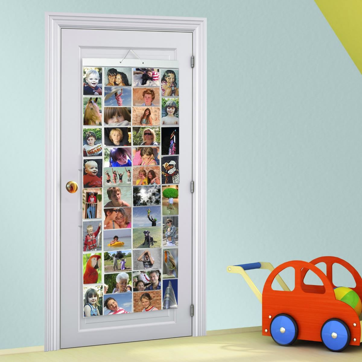 Picture pockets mega hanging photo frame album door wall for Wall hanging picture display