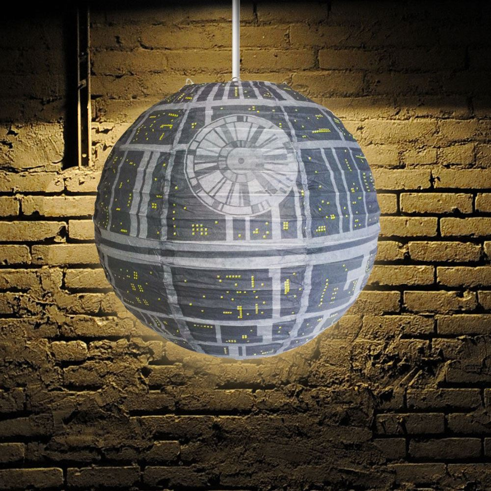 star wars death star light shade collapsible paper ceiling. Black Bedroom Furniture Sets. Home Design Ideas