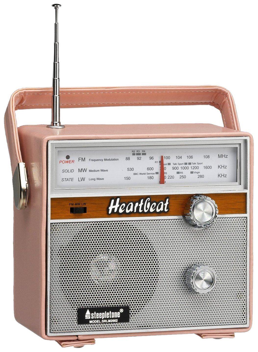 steepletone heartbeat 1960s retro style portable radio pink vintage leather ebay. Black Bedroom Furniture Sets. Home Design Ideas
