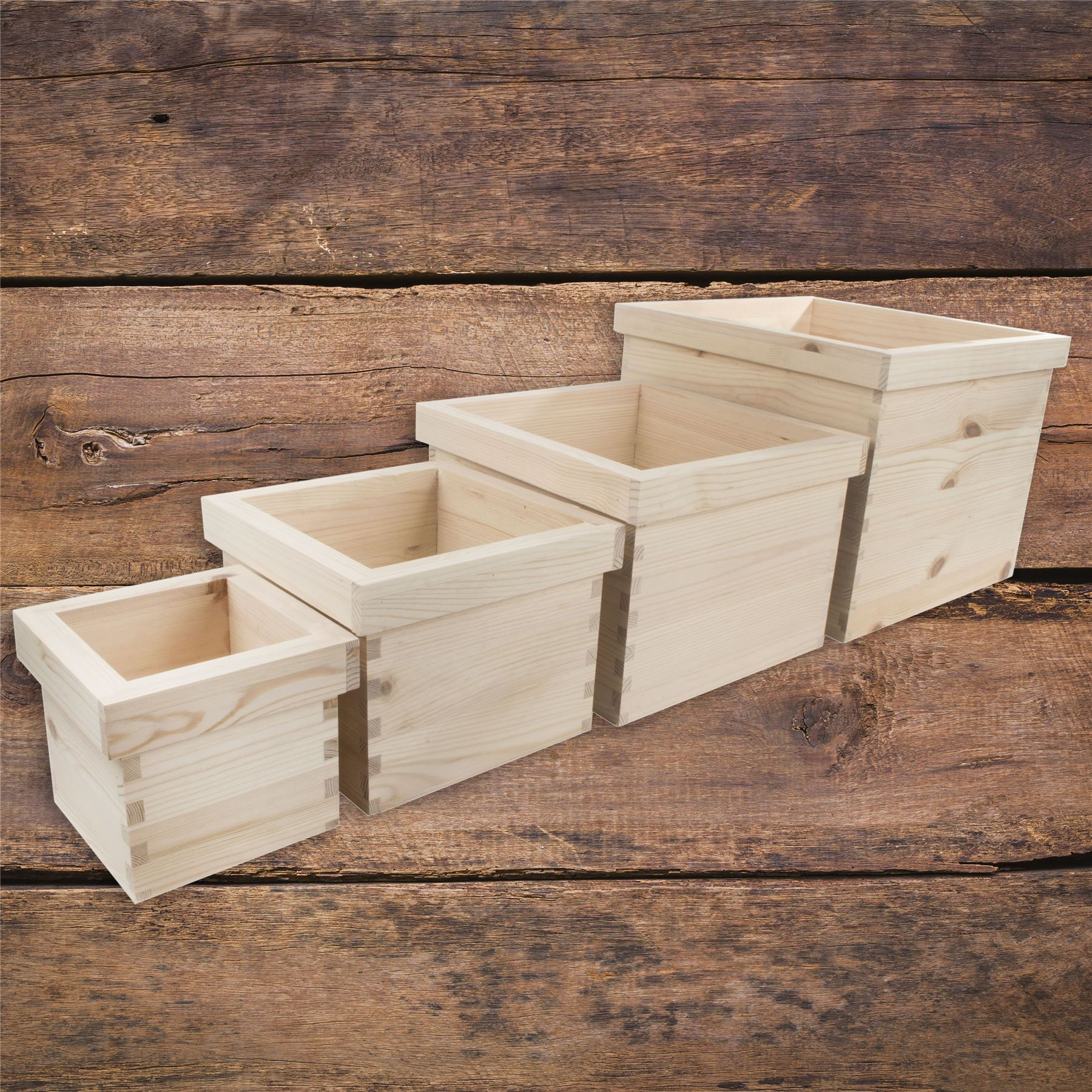 Kitchen Windowsill Herb Craft DIY Rectangular Plain Wooden Flower Pot Boxes