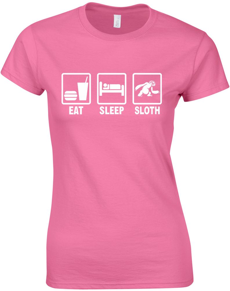 Eat-Sleep-Sloth-Ladies-Printed-T-Shirt-Women-Short-Sleeve-Tee-New-Size-S-M-L-XL thumbnail 5