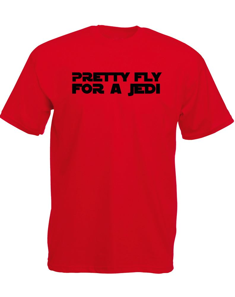 Pretty-Fly-For-A-Jedi-Mens-Printed-T-Shirt-100-Cotton-Short-Sleeve-Casual-Tee