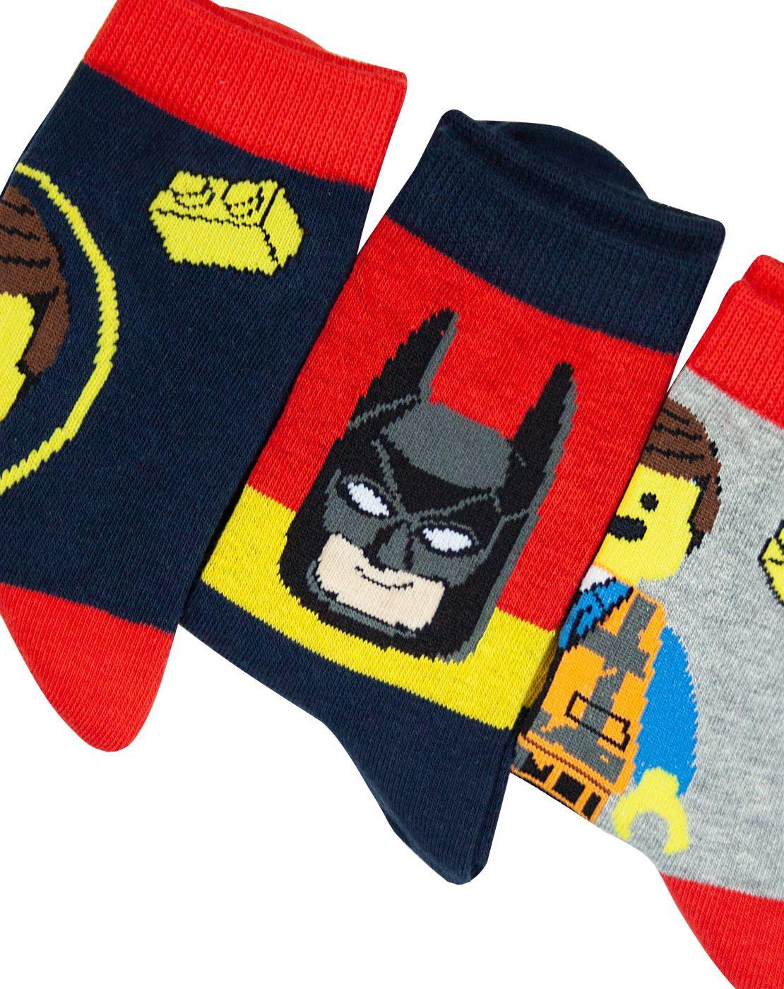 1f73a1e4a Lego Movie 2 Assorted 3 Pack Kids Red Socks | eBay