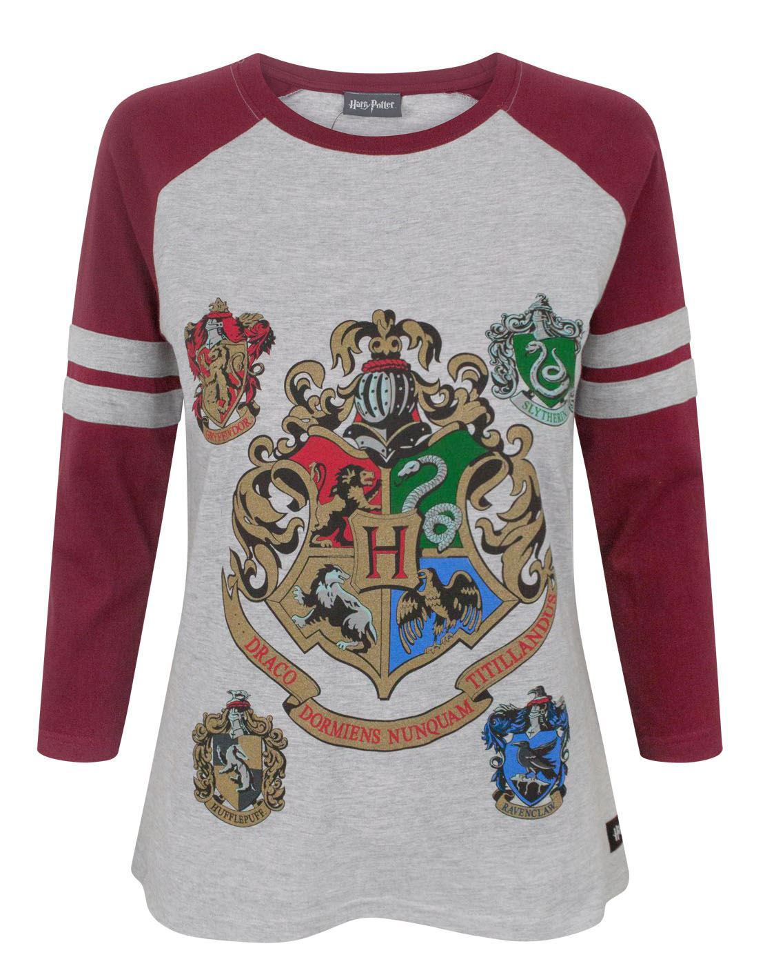 d0581e4f0 Harry Potter Hogwarts Crest Women's'/Ladies Raglan 3/4 Sleeve T-Shirt Top