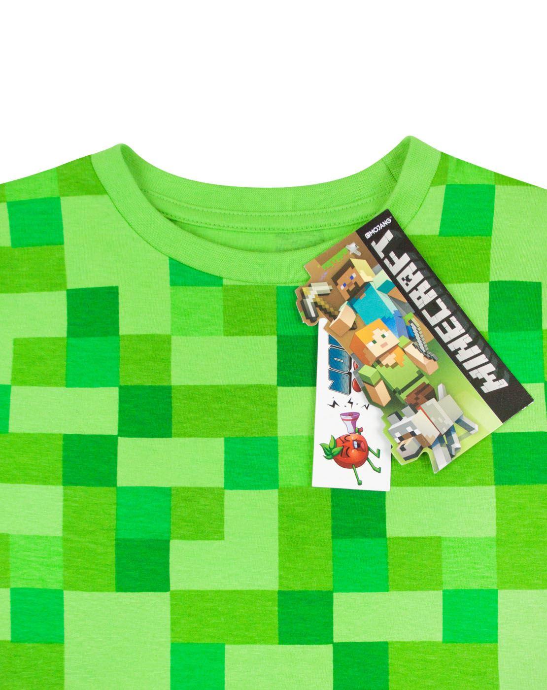 51193e465d243 T-shirt Minecraft All Over Creeper pour Garçon gamer tee-shirt vert ...