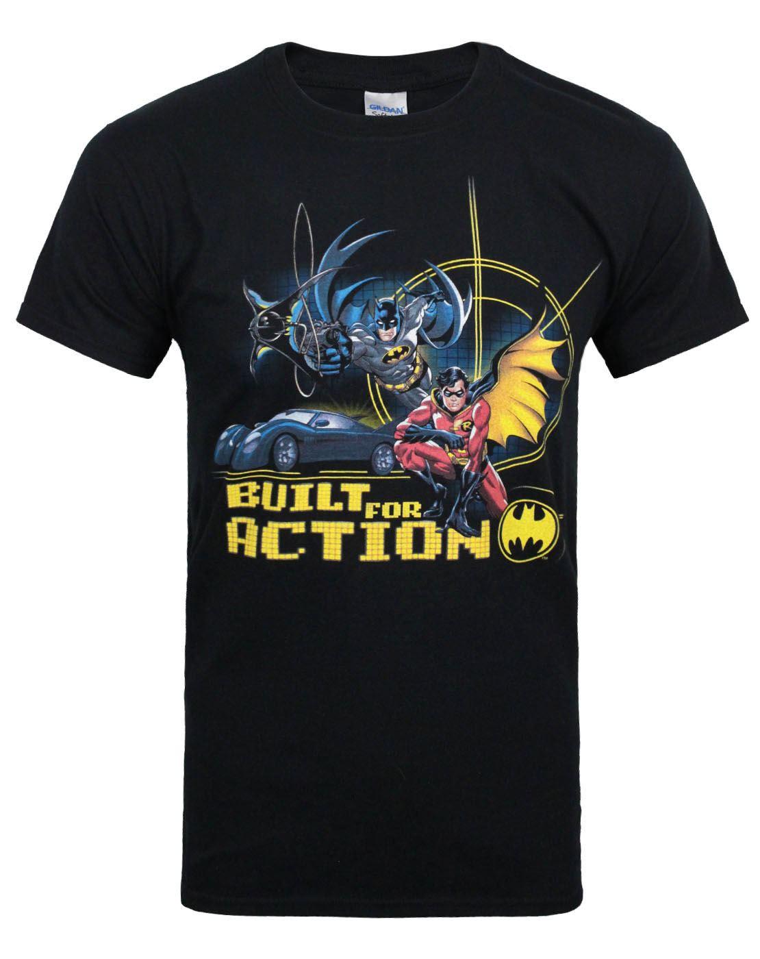 Official-Batman-Built-For-Action-Men-039-s-T-Shirt