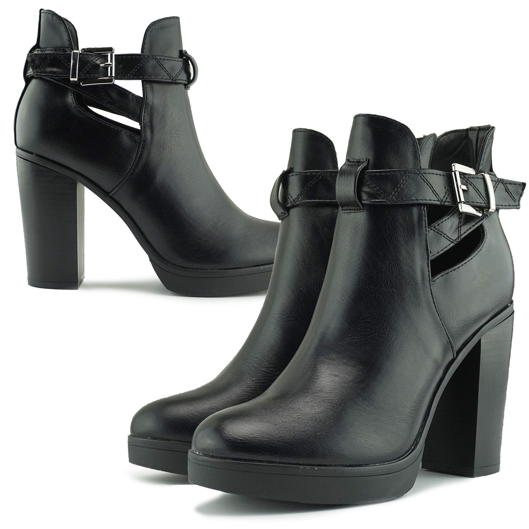 Women's Black Chunky Block High Heel