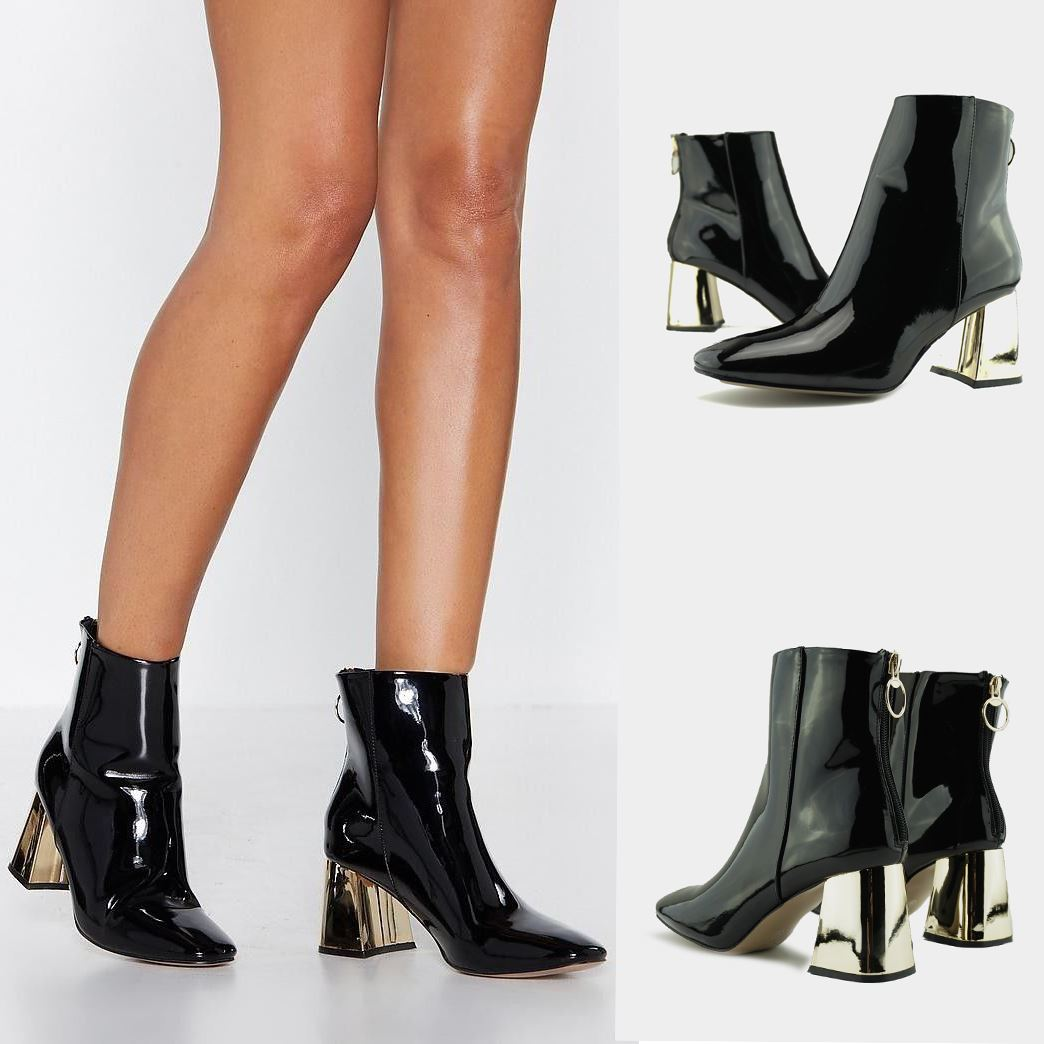 Women/'s Shiny Patent Leather High Heel Ankle Boots