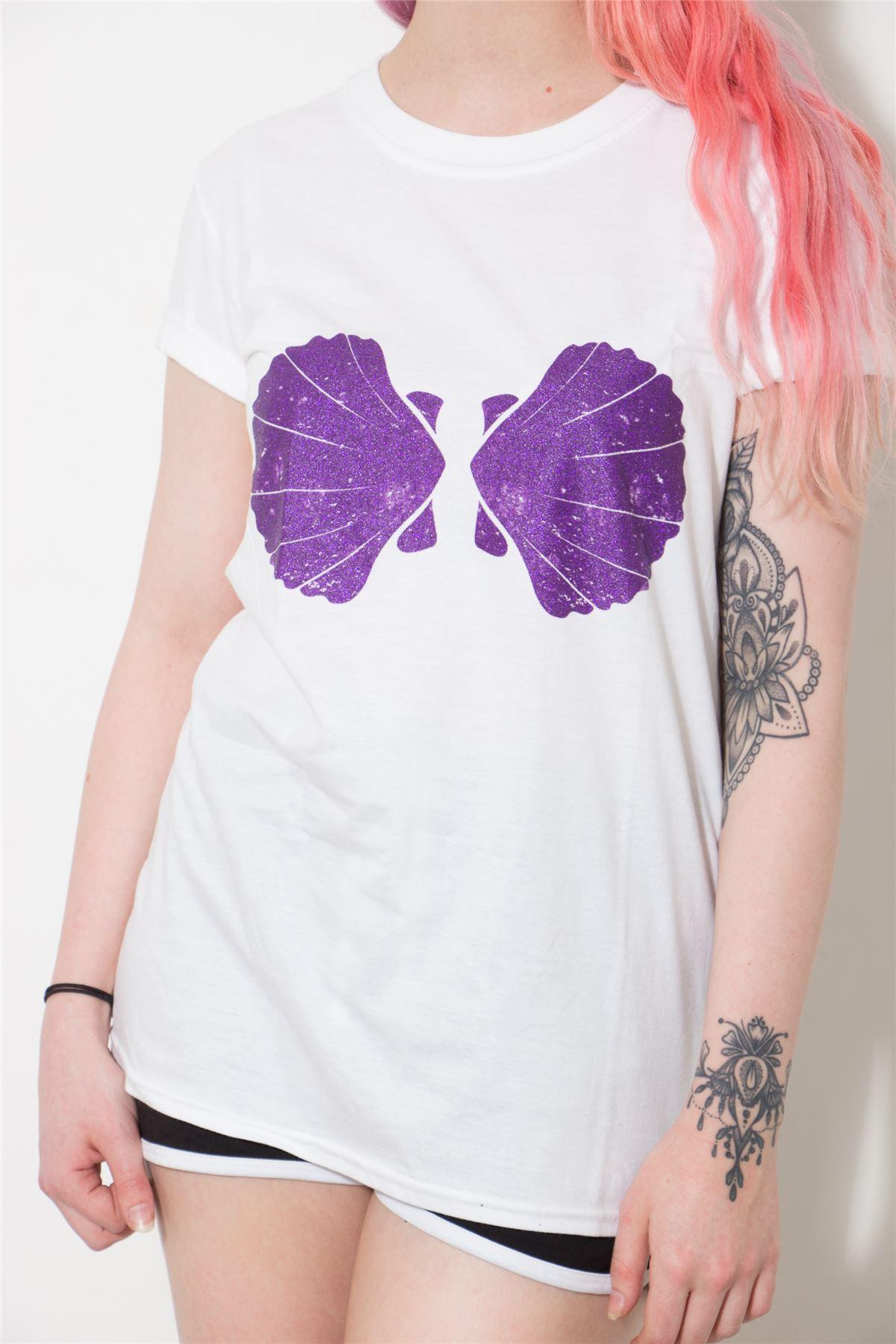 ef1d0e0169a2b Twisted Mermaid Shell T Shirt Top Ariel Bikini Bra Emo Goth Punk ...