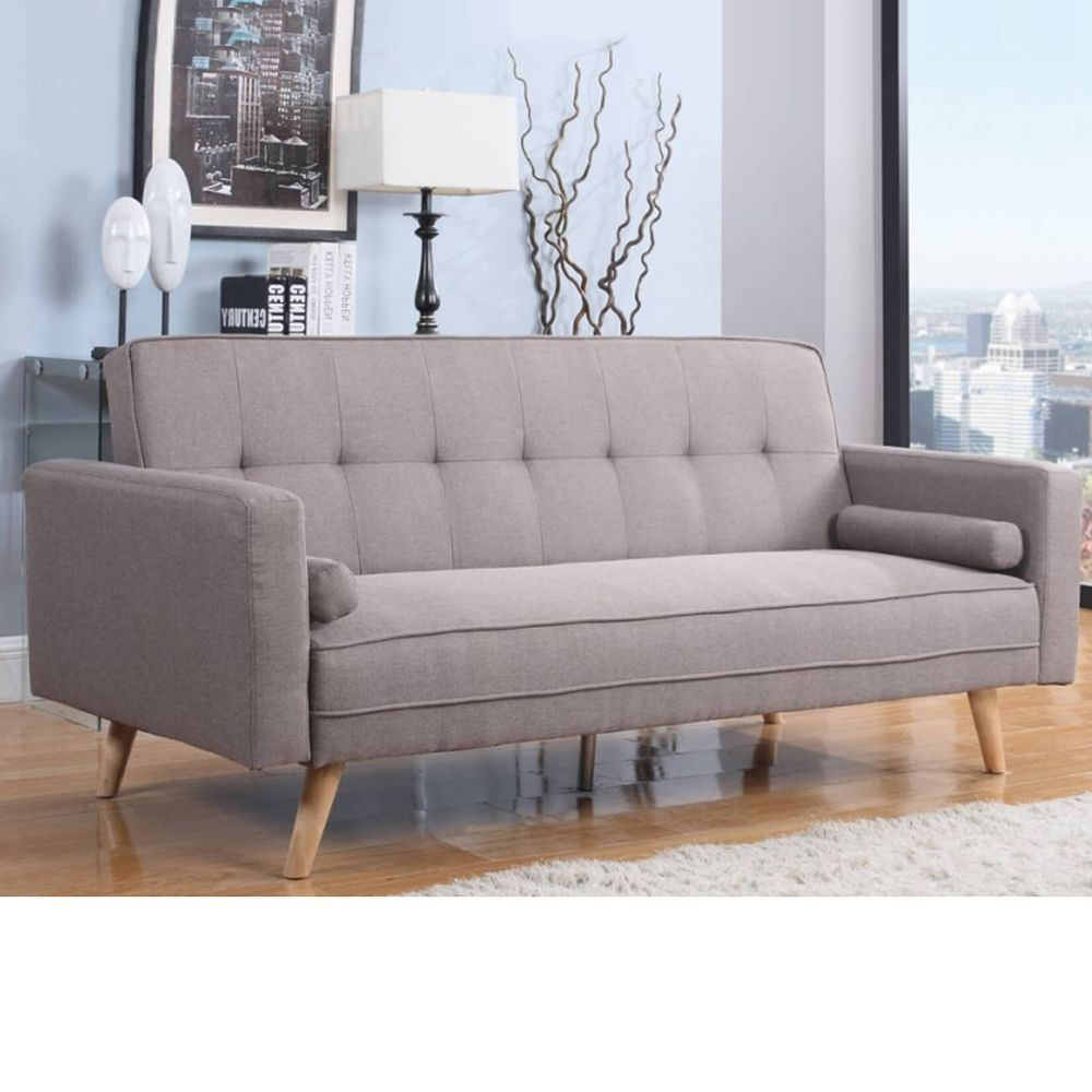 Ethan Grey Fabric Upholstered Guest Sofa Bed Large Three Seater