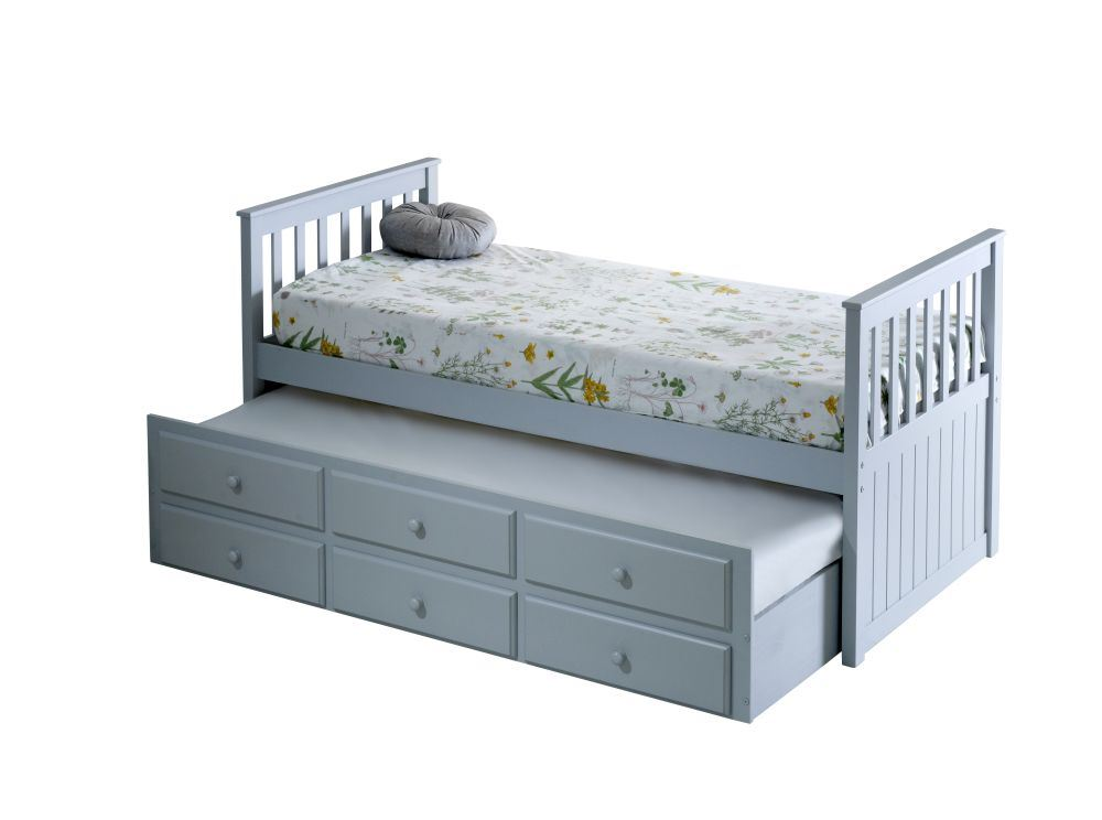 Happy beds maple guest bed 3ft wooden trundle storage for Bedroom furniture bed with drawers