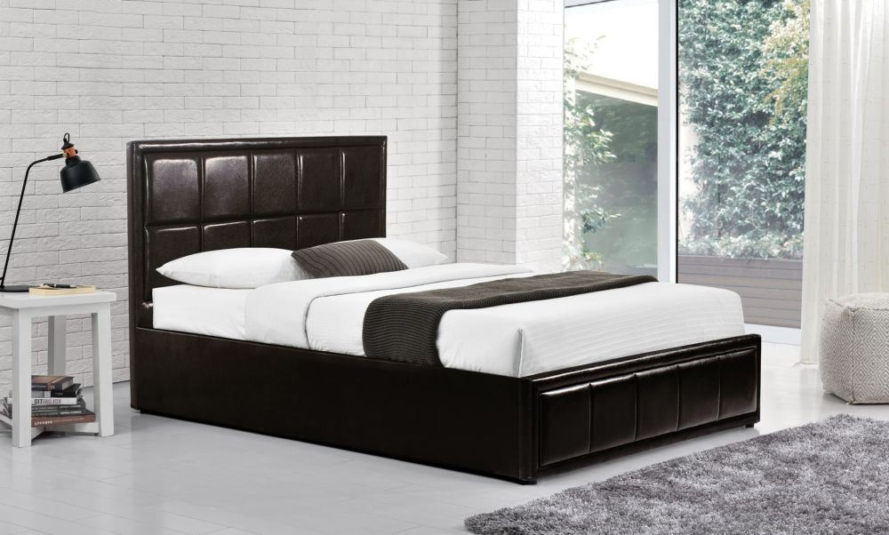 Happy Beds Hannover Brown Faux Leather Ottoman Storage Bed Furniture Mattresses Ebay