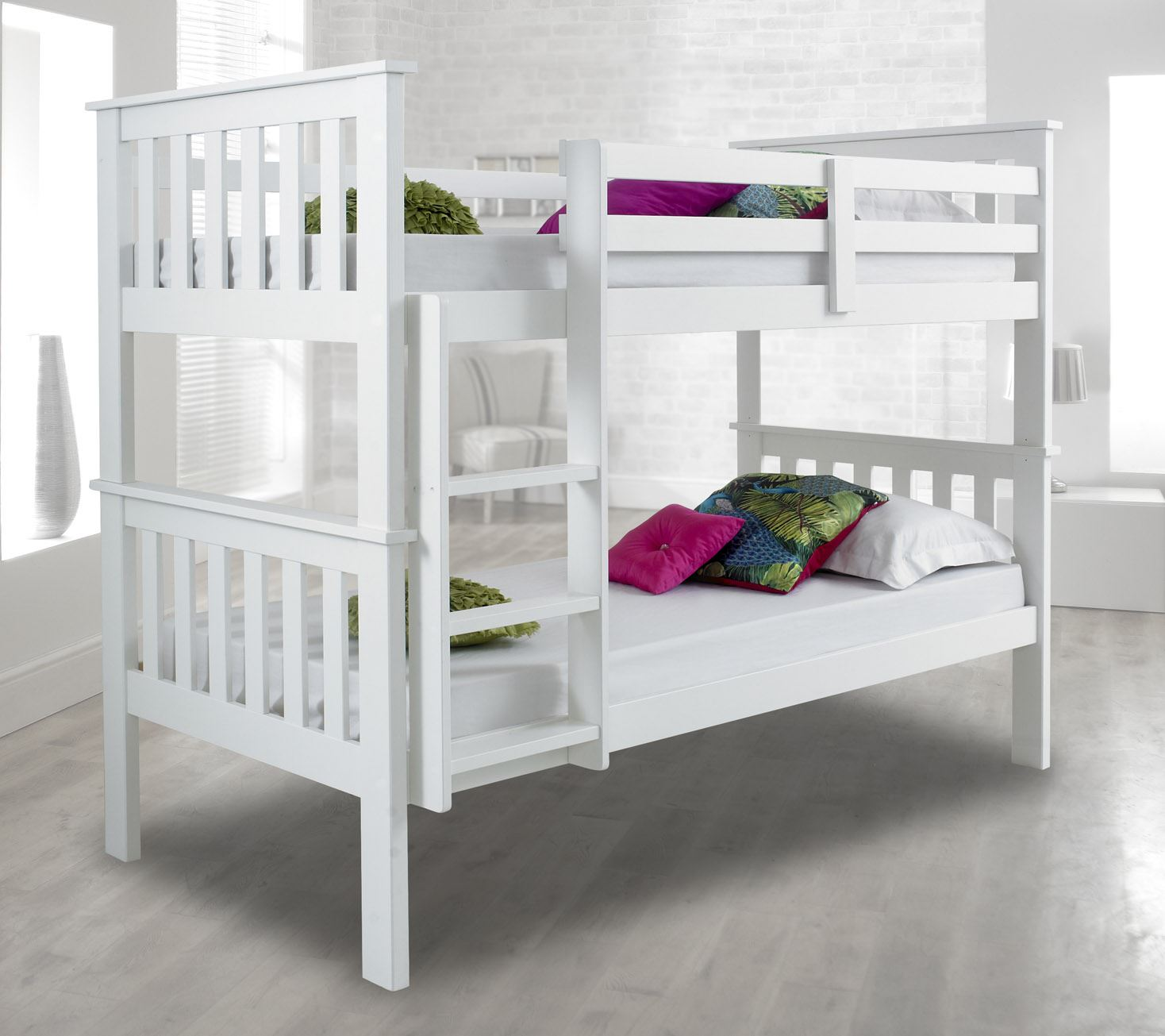 atlantis wood bunk bed 3ft single with 4 mattress and 2. Black Bedroom Furniture Sets. Home Design Ideas