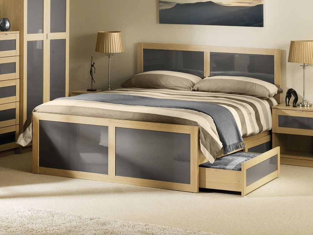 Happy Beds Strada Classic Bed Frame Light Oak And Grey Wood Drawer Mattress New Ebay