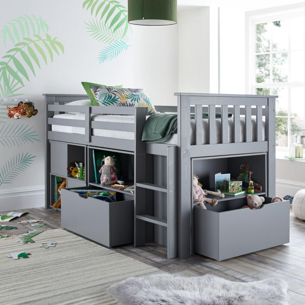 Milo Wood Mid Sleeper Storage Bed 3ft Single Grey/White ...