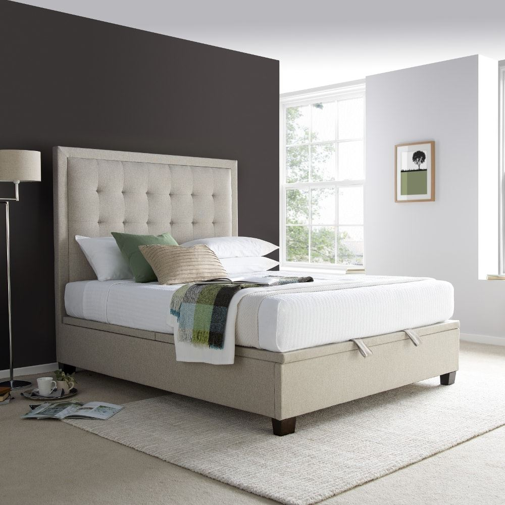 Metro Fabric Ottoman Storage Bed in Oatmeal or Grey with 3 Size ...