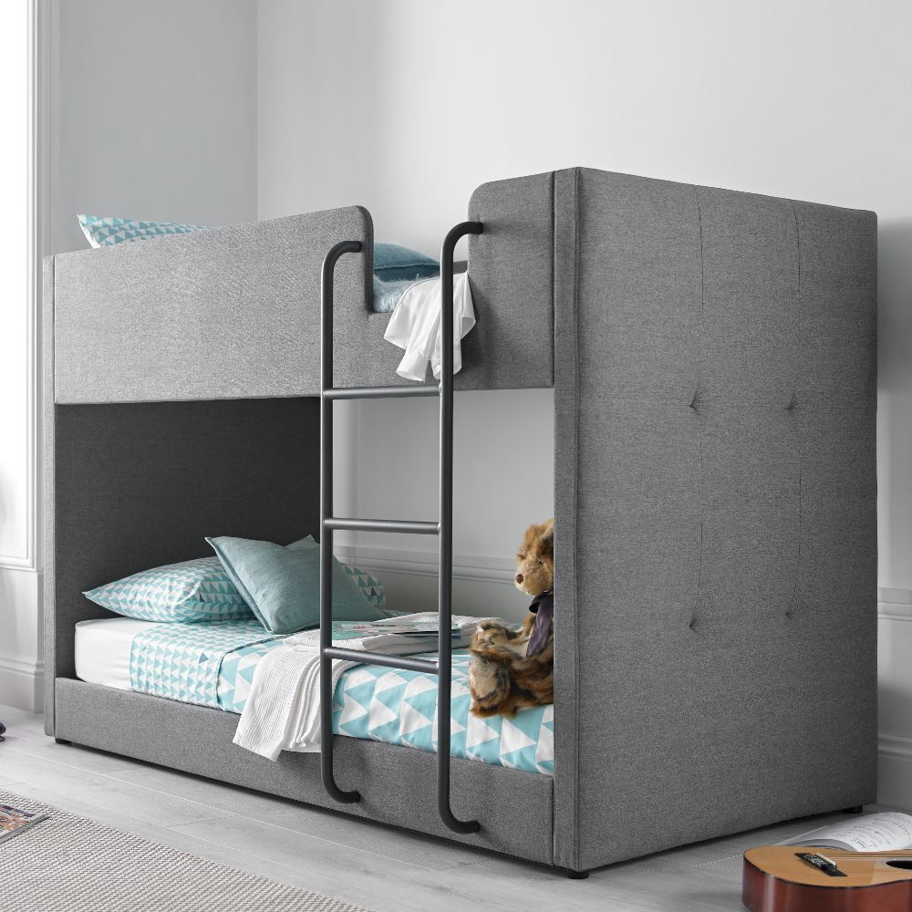 Saturn Fabric Bunk Bed 3ft Single In Grey With 4 Mattress Options Ebay