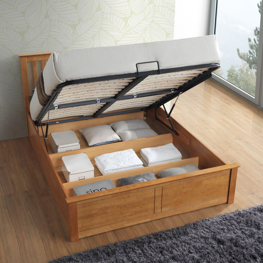 Malmo Wood Ottoman Storage Bed with 4 Mattress 2 Colour in Double or
