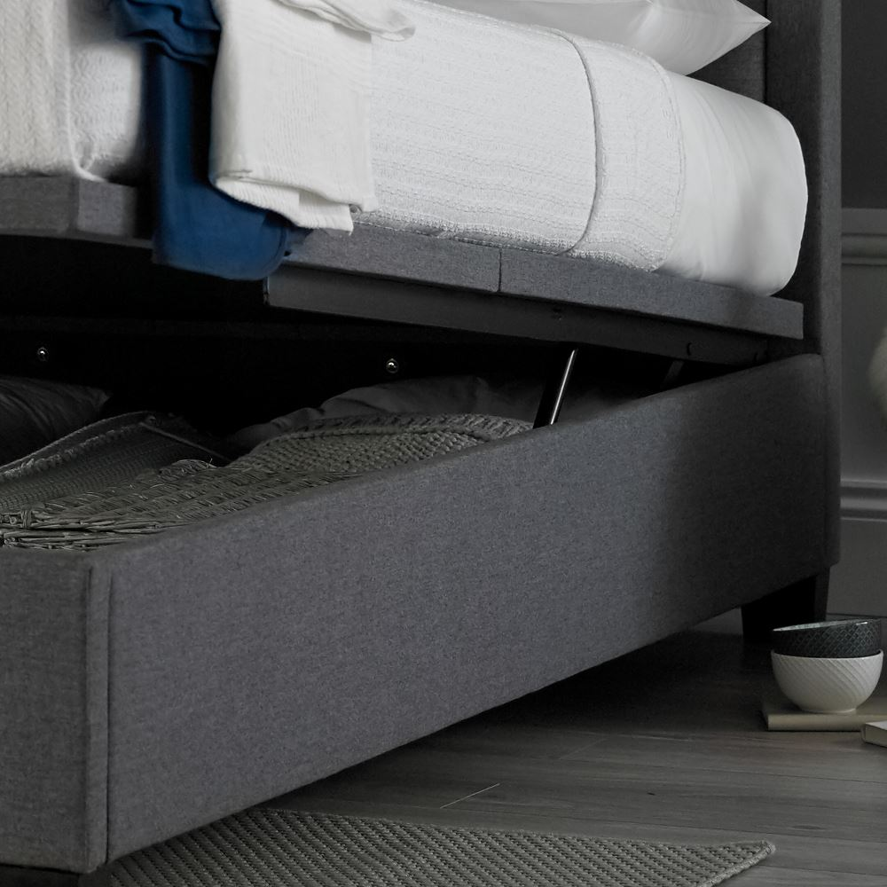 Ventura Grey Fabric Ottoman Storage Bed In Double King
