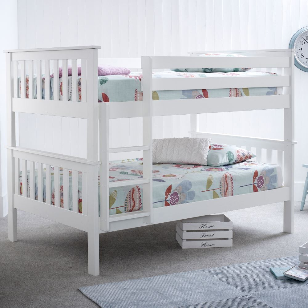 Oslo White Wood Quadruple Sleeper Bunk Bed 4ft