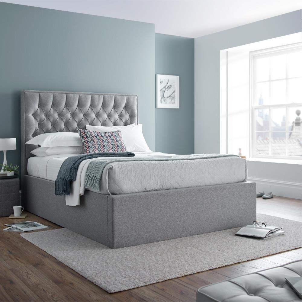 Wilson Fabric Ottoman Storage Bed With 2 Colour And 4