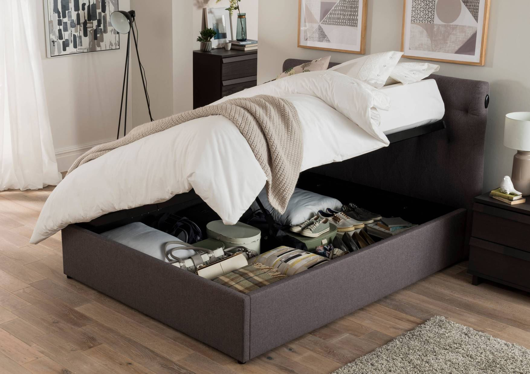 Ottoman Bedroom Storage Happy Beds Versace Fabric Bed Automatic Ottoman Storage Bedroom