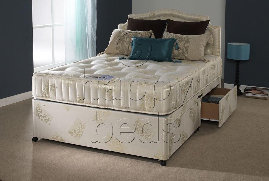 Happy Beds Divan Bed Set 4ft6 Double Headboard Orthopaedic