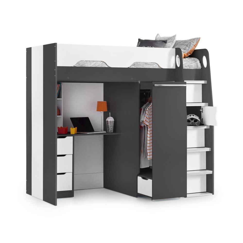Pegasus White Wood High Sleeper Storage Bed 3ft Single ...
