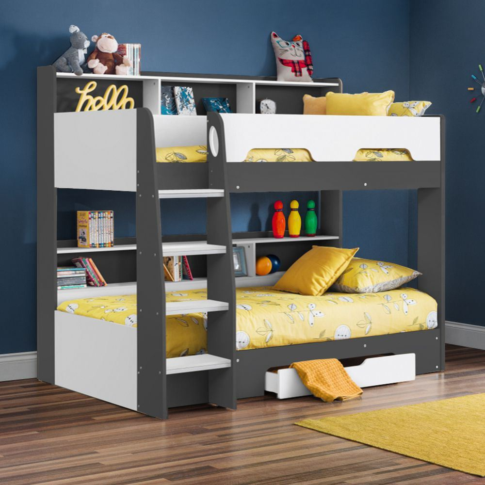Orion Wood Storage Bunk Bed 3ft Single With 4 Mattress