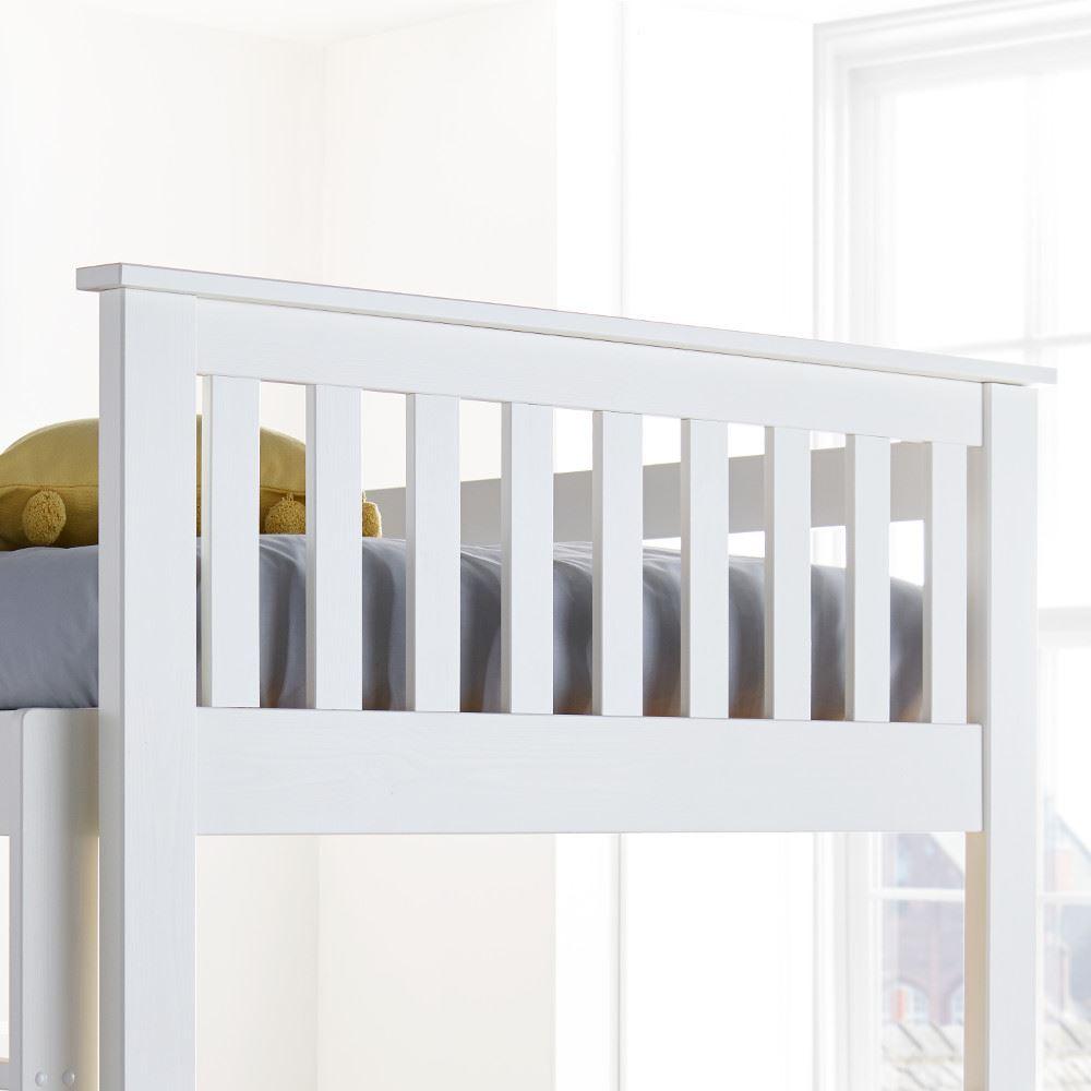 Oslo White Wood Quadruple Sleeper Bunk Bed 4ft Small