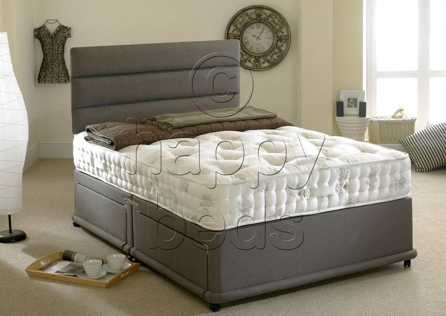 Happy beds 3ft single divan bed set organic 1400 pocket for Single divan bed without mattress
