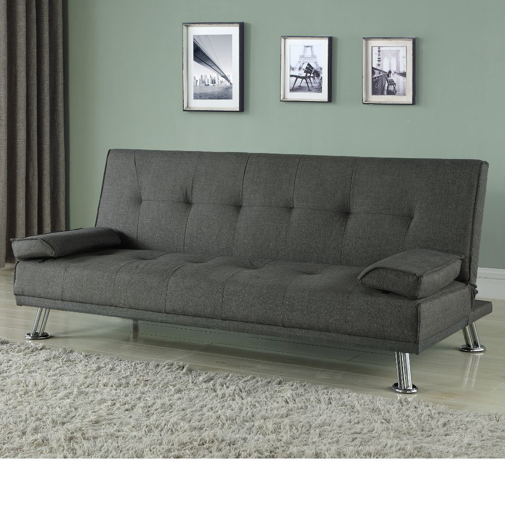 Logan Grey Fabric Upholstered Guest Sofa Bed Medium Two Seater