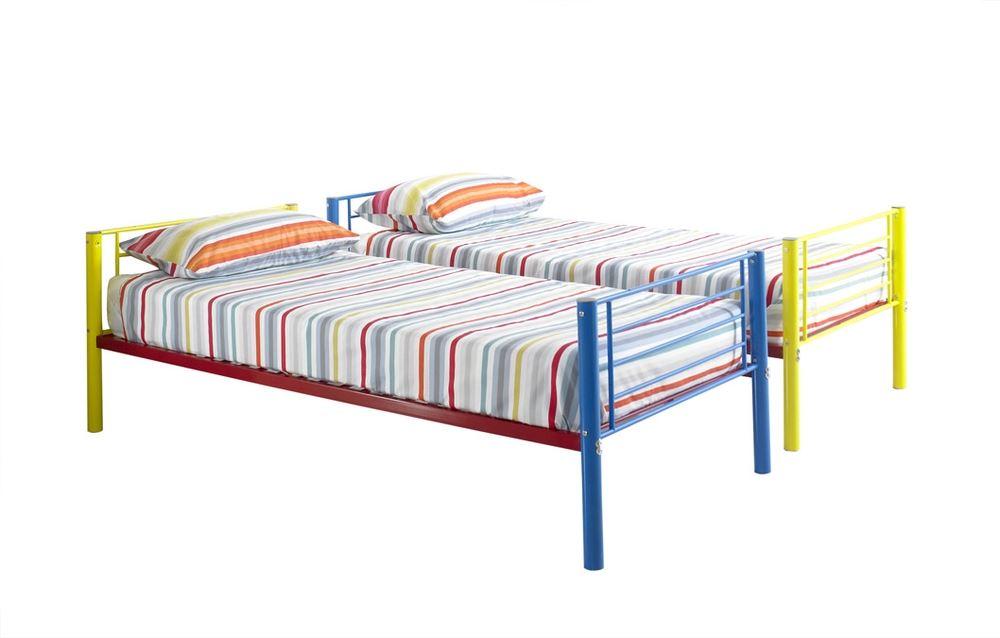 Happy Beds Rainbow Bunk Bed 3ft Metal Multi Coloured Kids