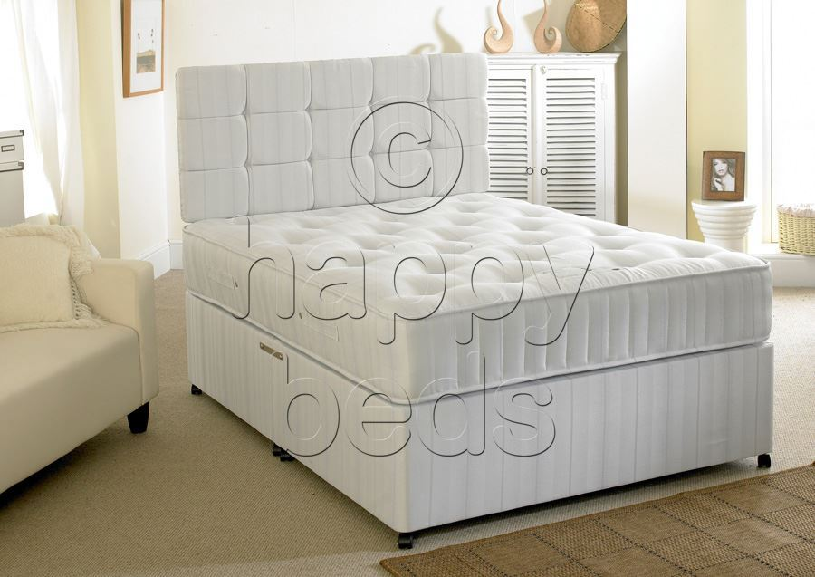 Happy beds divan bed 2ft6 small single headboard for Single divan with drawers and headboard