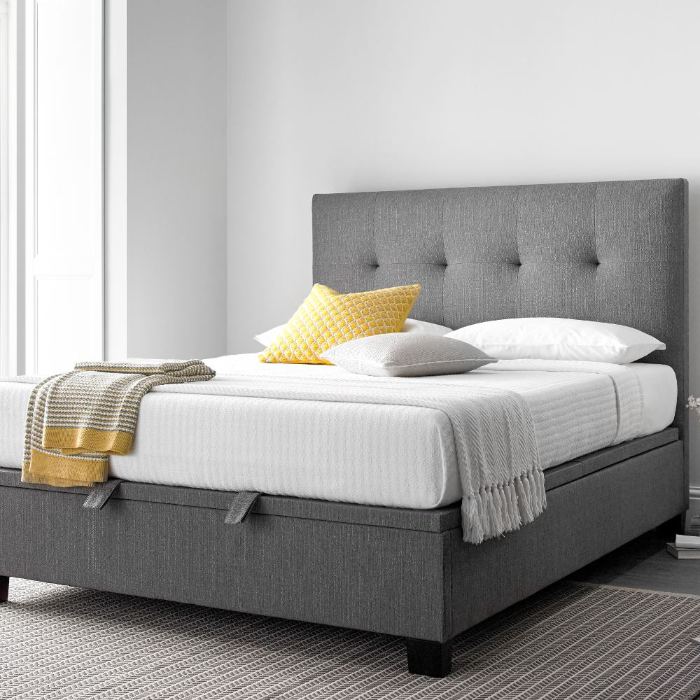 Yorkie Grey Fabric Ottoman Storage Bed In Double King Or
