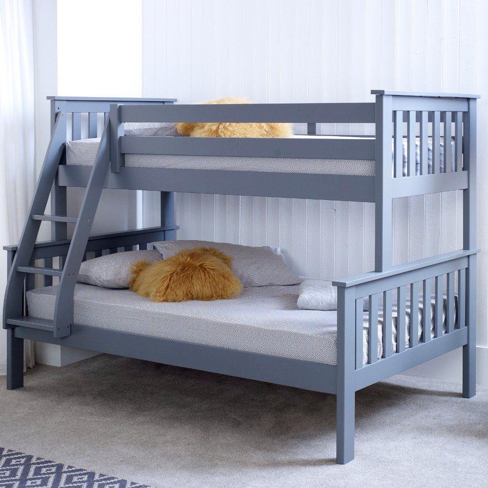 Happy Beds Atlantis Triple Sleeper Bunk Bed Grey Wooden Mattress