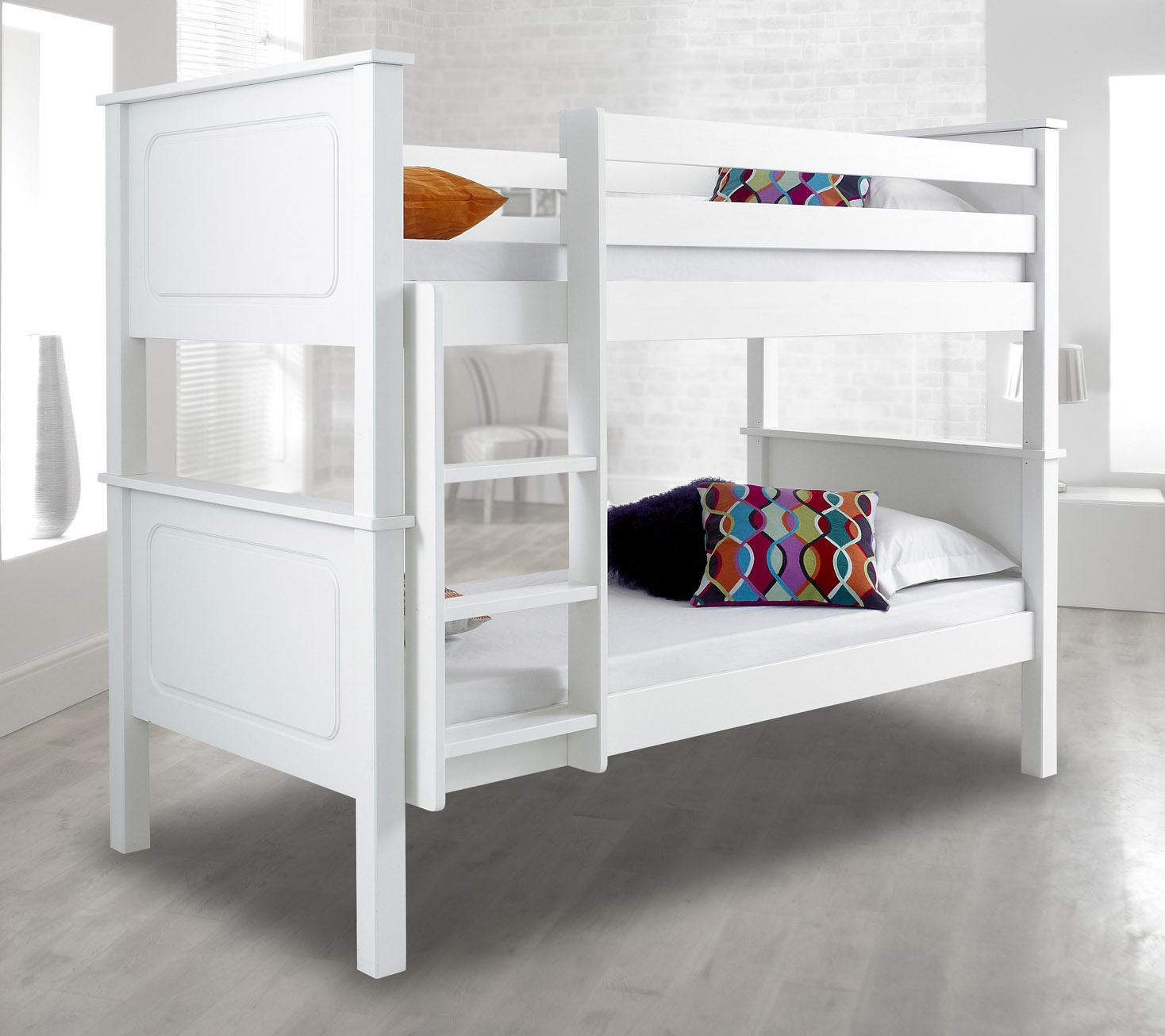 Vancouver Wood Traditional Bunk Bed 3ft Single 4 Mattress And 2