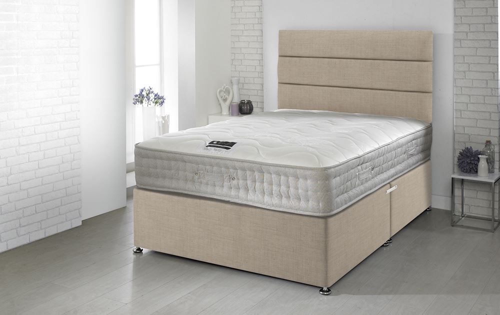 Happy beds 5ft king size divan bamboo memory foam 1500 for King size divan bed memory foam