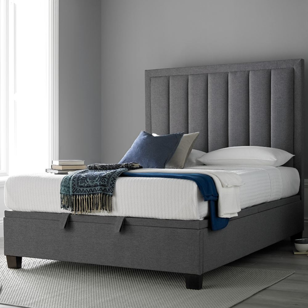 King size grey ottoman bed