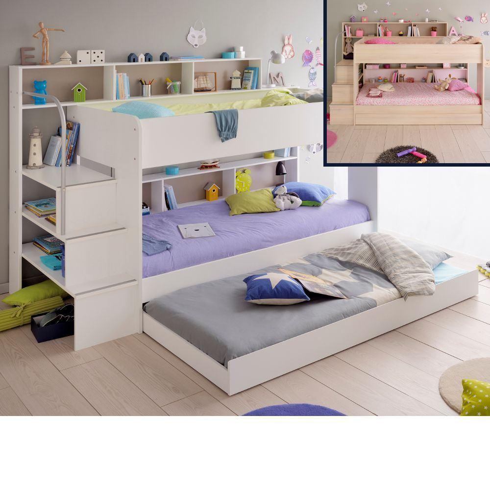 Wood Bunk Bed Bibop 2 Staircase Kids Bed Eu Single 2 Colour 4 Mattress Options Ebay